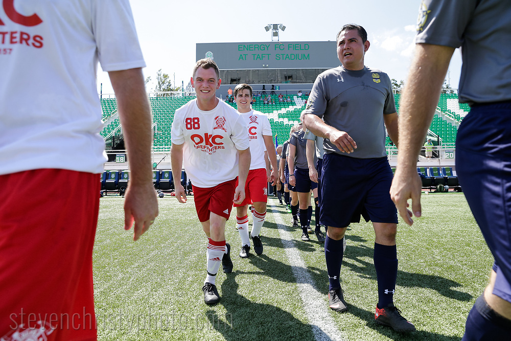 August 19, 2017: The OKC Police Department and OKC Fire Department play an exhibition match prior to the OKC Energy FC match at Taft Stadium in Oklahoma City, Oklahoma.