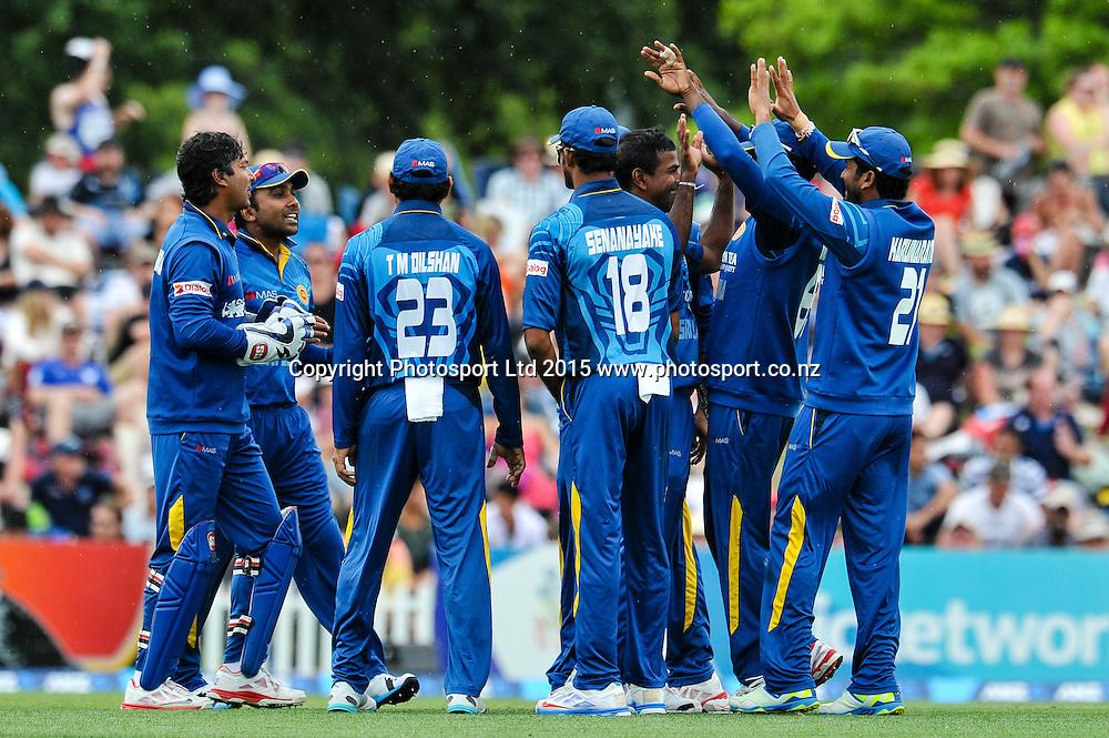 Sri Lanka celebrates the wicket of Grant Elliott of the Black Caps in the first ODI, Black Caps v Sri Lanka, at Hagley Oval, Christchurch, 11 January 2015. Photo:John Davidson/www.photosport.co.nz