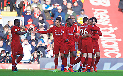 LIVERPOOL, ENGLAND - Saturday, February 9, 2019: Liverpool's Georginio Wijnaldum celebrates scoring the second goal with team-mate Andy Robertson during the FA Premier League match between Liverpool FC and AFC Bournemouth at Anfield. (Pic by David Rawcliffe/Propaganda)