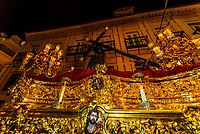 A paso (float) of  Jesus Christ carrying the cross in the procession of the Brotherhood (Hermandad) La Candelaria, Holy Week (Semana Santa), Seville, Andalusia, Spain.