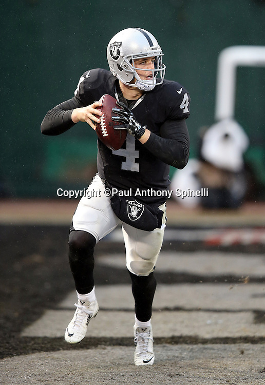 Oakland Raiders quarterback Derek Carr (4) scrambles through his own end zone as he looks to pass late in the fourth quarter during the 2015 week 15 regular season NFL football game against the Green Bay Packers on Sunday, Dec. 20, 2015 in Oakland, Calif. The Packers won the game 30-20. (©Paul Anthony Spinelli)