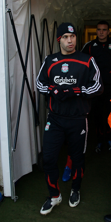LUTON, ENGLAND - Sunday, January 6, 2008: Liverpool's Javier Mascherano walks out of the tunnel before the FA Cup 3rd Round match against Luton Town at Keniworth Road. (Photo by David Rawcliffe/Propaganda)