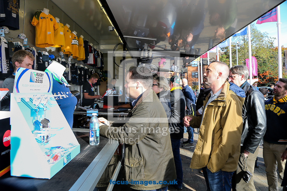 Merchandise on sale before the final of the 2015 Rugby World Cup at Twickenham Stadium, Twickenham<br /> Picture by Andy Kearns/Focus Images Ltd 0781 864 4264<br /> 31/10/2015