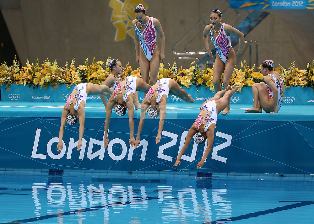 The team from China performs during team synchronized swimming free routine final during day 14 of the London Olympic Games in London, England, United Kingdom on August 10, 2012. China went on to win the silver medal..(Jed Jacobsohn/for The New York Times)..