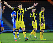 John Mousinho protests during the Sky Bet League 1 match between Rochdale and Burton Albion at Spotland, Rochdale, England on 30 January 2016. Photo by Daniel Youngs.