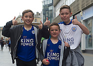 Leicester City fans pictured in the city centre before the Premier League match against Manchester United.<br /> Picture by Anthony Stanley/Focus Images Ltd 07833 396363<br /> 01/05/2016