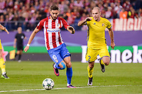 Atletico de Madrid's player Yannick Carrasco and CF Rostov's player XTimofei KalachevXX during a match of UEFA Champions League at Vicente Calderon Stadium in Madrid. November 01, Spain. 2016. (ALTERPHOTOS/BorjaB.Hojas)