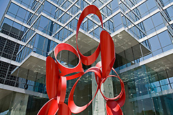 "Downtown Dallas: ""The Venture"" by Alexander Liberman provides colorful contrast with the city's tallest skyscraper, the Bank of America Plaza building.  Additional views available."