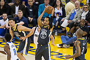 Golden State Warriors guard Shaun Livingston (34) snags a rebound against the Dallas Mavericks at Oracle Arena in Oakland, California, on February 8, 2018. (Stan Olszewski/Special to S.F. Examiner)
