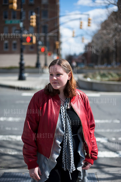 March 13, 2013 - New York, NY : Shannon Lee Gilstad, who works at BronxWorks and lives in Bedford Park, poses for a portrait on the Grand Concourse on Wednesday afternoon. CREDIT: Karsten Moran for The New York Times