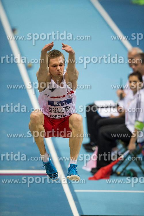 07.03.2014, Ergo Arena, Sopot, POL, IAAF, Leichtathletik Indoor WM, Sopot 2014, Tag 1, im Bild ADRIAN STRZALKOWSKI // ADRIAN STRZALKOWSKI during day one of IAAF World Indoor Championships Sopot 2014 at the Ergo Arena in Sopot, Poland on 2014/03/07. EXPA Pictures © 2014, PhotoCredit: EXPA/ Newspix/ Radoslaw Jozwiak<br /> <br /> *****ATTENTION - for AUT, SLO, CRO, SRB, BIH, MAZ, TUR, SUI, SWE only*****