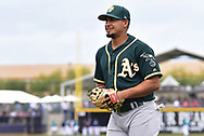 PEORIA, AZ - MARCH 05:  Franklin Barreto #1 of the Oakland Athletics smiles on the field prior to the spring training game against the Seattle Mariners at Peoria Stadium on March 5, 2017 in Peoria, Arizona.  (Photo by Jennifer Stewart/Getty Images)