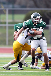 12 November 2011:  Erik Westerberg wraps up Rob Gallik on a quarterback option play during an NCAA division 3 football game between the Augustana Vikings and the Illinois Wesleyan Titans in Tucci Stadium on Wilder Field, Bloomington IL