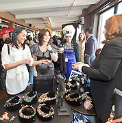 Jess Zaino, Celebrity Fashion Stylist leads a tour of the Nolcha Fashion Lounge. Nolcha supports the growth of ethical fashion and celebrate independent fashion brands who hold to sustainable, organic and eco-friendly fashion standards.  Nolcha is an award-winning leading global platform advancing the business of independent fashion designers and retailers via social e-commerce, fashion week events and an educational video portal. Erica Levine of RICKIL Designer Jewelry.