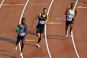 Isaac Makwala (Botswana) (Disqualified), Kevin Borlee (Belgium), Mathew Hudson-Smith (Great Britain), Men's 400m, during the IAAF Diamond League event at the King Baudouin Stadium, Brussels, Belgium on 6 September 2019.