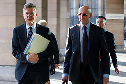 © Licensed to London News Pictures. 11/02/2016. London, UK. Tax Assurance Commissioner of HMRC, Edward Troup and Director General Business Tax of HMRC, Jim Harra arriving at Portcullis House in London to giving evidence to the Commons Public Accounts Committee on corporate tax deals on Thursday, 11 February 2016. Photo credit: Tolga Akmen/LNP