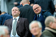 Newcastle United owner Mike Ashley and Newcastle United managing director Lee Charnley ahead of the Premier League match between Newcastle United and Watford at St. James's Park, Newcastle, England on 3 November 2018.