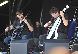 The two Cello's performed a rousing set on the main stage at the Westport Festival.<br /> Pic Conor McKeown