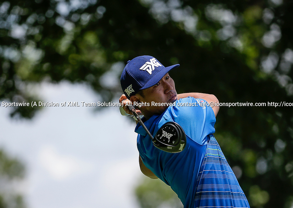 POTOMAC, MD - JULY 01:  James Hahn tees off on the 8th hole during the third round of the Quicken Loans National at TPC Potomac at Avenel Farm in Potomac, MD.(Photo by Justin Cooper/Icon Sportswire)