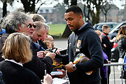 Callum Wilson (13) of AFC Bournemouth signing his autograph for fans on arrival before the Premier League match between Bournemouth and Crystal Palace at the Vitality Stadium, Bournemouth, England on 7 April 2018. Picture by Graham Hunt.