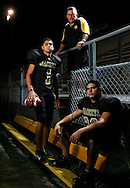Photo by Alex Jones..Edcouch-Elsa Yellowjackets: #1 Erik Nino, Head Coach Joe Solis, defensive end Jerry Galvan