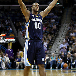 April 1, 2011; New Orleans, LA, USA; Memphis Grizzlies power forward Darrell Arthur (0) celebrates following a shot by center Marc Gasol (not pictured) to end the first half against the New Orleans Hornets at the New Orleans Arena. The Grizzlies defeated the Hornets 93-81.   Mandatory Credit: Derick E. Hingle