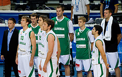 Aleksander Sekulic, assistant coach of Slovenia, Zoran Dragic of Slovenia, Goran Dragic of Slovenia, Erazem Lorbek of Slovenia, Matjaz Smodis of Slovenia, Uros Slokar of Slovenia, Luka Rupnik of Slovenia, Saso Ozbolt of Slovenia and Goran Jagodnik of Slovenia during basketball game between National basketball teams of Slovenia and Greece at FIBA Europe Eurobasket Lithuania 2011, on September 8, 2011, in Siemens Arena,  Vilnius, Lithuania. Greece defeated Slovenia 69-60.  (Photo by Vid Ponikvar / Sportida)