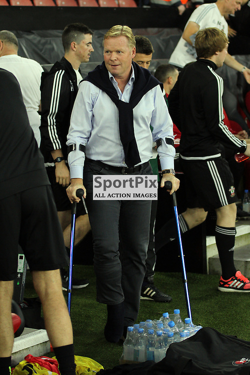 Ronald koeman appears on crutches During Southampton FC vs Fc Midtjylland on Thursday the 20th August 2015.