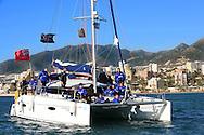 07-01-2009 Voetbal:Willem II:Trainingskamp:Torremolinos:Spanje<br /> Willem II ging vanochtend met een catamaran de open zee op in Spanje. Vanuit Belmadena ging men op open zee een vaarttocht maken<br /> Foto: Geert van Erven