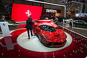 Geneva Motorshow 2013 - LaFerrari being unveiled by key members of Ferrari.