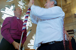 © Licensed to London News Pictures .File pic dated September 1998.  Picture shows David Potter (right) then ringing master of York Minster with former Archbishop of York, Dr David Hope, bell ringing at York Minster. All bell ringers at York Minster have been sacked following a row over an investigation into the conduct of David Potter on safeguarding grounds and his suspension in July 2016, <br /> Photo Credit: Sam Atkins/LNP