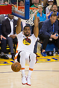 Golden State Warriors forward James Michael McAdoo (20) dunks the ball against the LA Clippers at Oracle Arena in Oakland, Calif., on January 28, 2017. (Stan Olszewski/Special to S.F. Examiner)