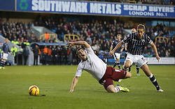 Millwall's Paul Robinson brings down Burnley's Sam Vokes but no penalty is given - Photo mandatory by-line: Robin White/JMP - Tel: Mobile: 07966 386802 02/11/2013 - SPORT - FOOTBALL - The Den - Millwall - Millwall v Burnley - Sky Bet Championship