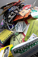 A collections of photographers' press passes. Photo by Dennis Brack...