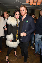 Amy Molyneaux and Tomas Baleztena at a party hosted by Andre Howard Gayle to launch issue one of The Fall held at The Groucho Club, Dean Street, London England. 05 October 2017.