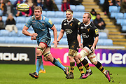 Wasps scrum half Dan Robson (9) passes during the Aviva Premiership match between Wasps and London Irish at the Ricoh Arena, Coventry, England on 4 March 2018. Picture by Dennis Goodwin.