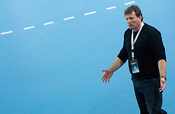 Fredi Radojkovic, head coach of Cimos Koper during handball match between RK Cimos Koper and HCM Constanta in 10th Round of season 2011/2012 of EHF Men's Champions League, on February 25, 2012 in Arena Bonifika, Koper, Slovenia. Cimos Koper defeated Constanta 28-24. (Photo By Vid Ponikvar / Sportida.com)