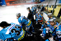 Players of Linz and coach Kim Collins during ice-hockey match between HK Acroni Jesenice and EHC Liwest Linz in 3rd Round of EBEL league, on September 17, 2010 at Arena Podmezakla in Jesenice, Slovenia. Jesenice defeated Linz 3 - 1. (Photo By Vid Ponikvar / Sportida.com)