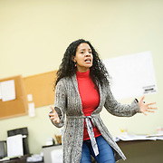 "November 20, 2012 - New York, NY : Actress Zabryna Guevara performs a scene during an early rehearsal for ""Water by the Spoonful"" at Second Stage Theatre on West 43rd Street in Manhattan on Tuesday night. The play, by Quiara Alegria Hudes, won the 2012 Pulitzer Prize for drama. CREDIT: Karsten Moran for The New York Times"