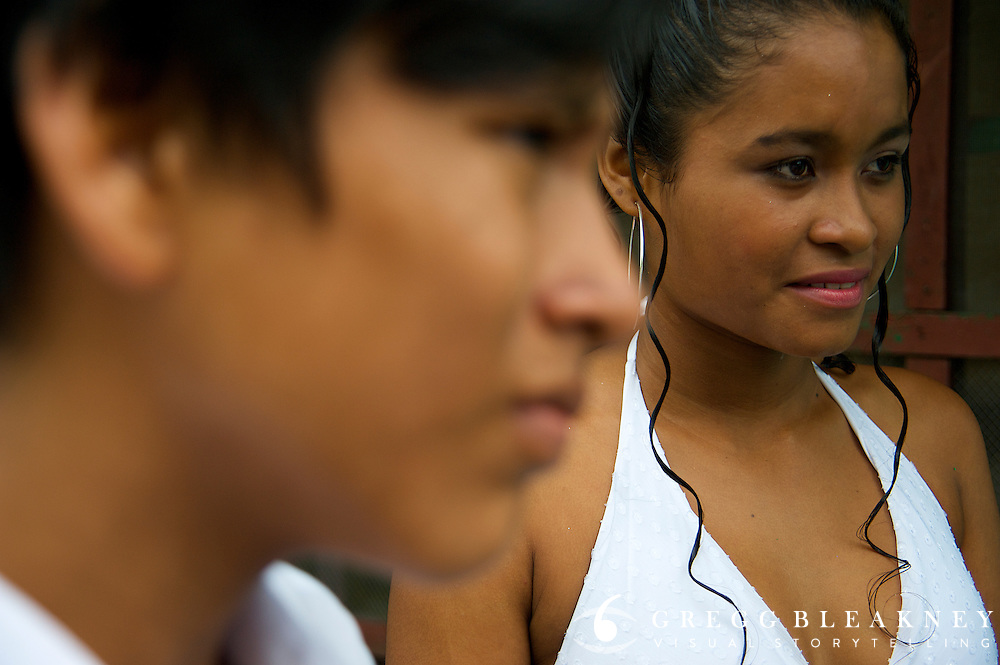 A school beaty pagent participant and her dance partner before their performance - Puerto Narino - Amazonas - Colombia