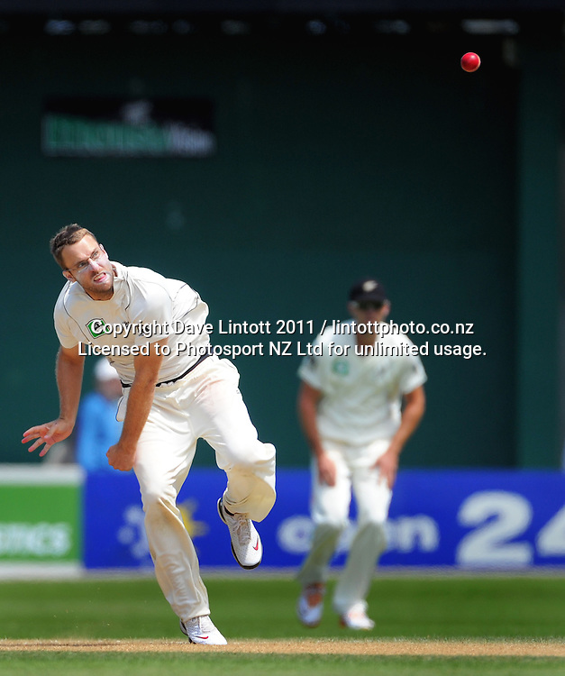 NZ captain Daniel Vettori bowls. 2nd cricket test match - New Zealand Black Caps v Pakistan, day three at the Basin Reserve, Wellington, New Zealand on Monday, 17 January 2011. Photo: Dave Lintott / photosport.co.nz