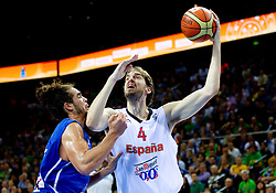 Joakim Noah of France vs Pau Gasol of Spain during final basketball game between National basketball teams of Spain and France at FIBA Europe Eurobasket Lithuania 2011, on September 18, 2011, in Arena Zalgirio, Kaunas, Lithuania. (Photo by Vid Ponikvar / Sportida)