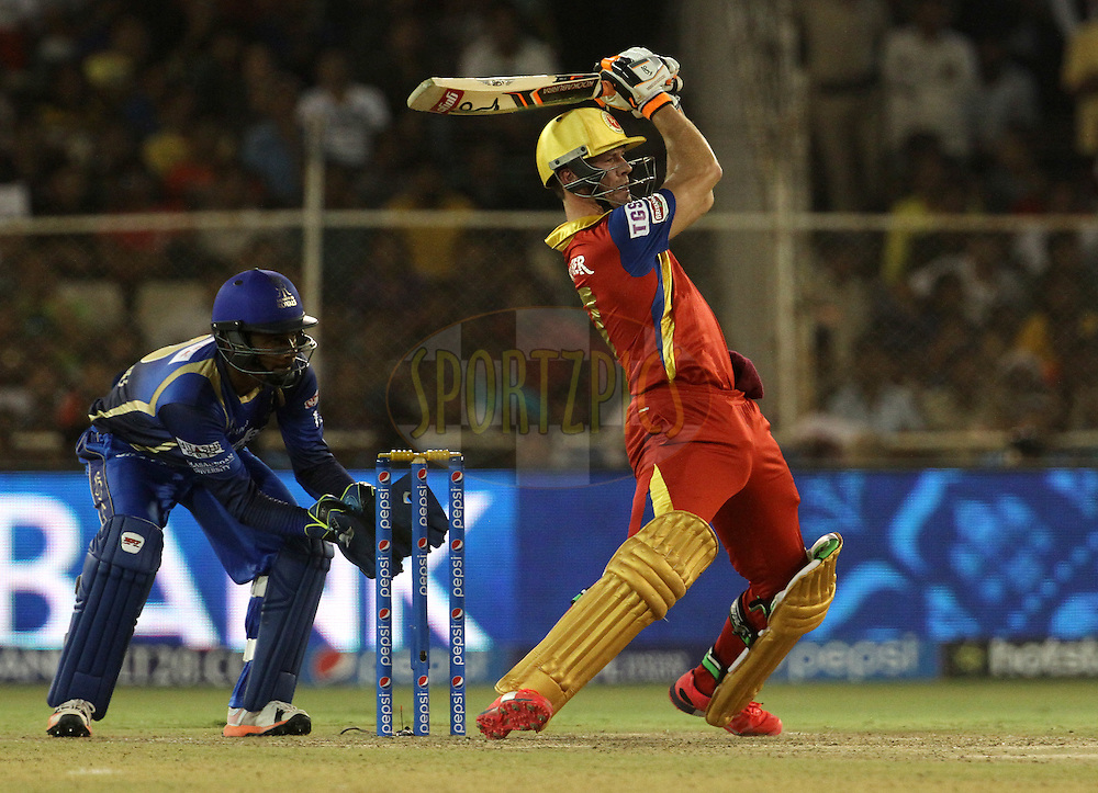 Royal Challengers Bangalore player AB De Villiers plays a shot during match 22 of the Pepsi IPL 2015 (Indian Premier League) between The Rajasthan Royals and The Royal Challengers Bangalore held at the Sardar Patel Stadium in Ahmedabad , India on the 24th April 2015.<br /> <br /> Photo by:  Vipin Pawar / SPORTZPICS / IPL