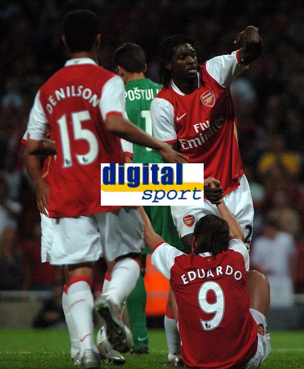 Photo: Tony Oudot.<br /> Arsenal v Sparta Prague. UEFA Champions League Qualifying. 29/08/2007.<br /> Emmanuel Adebayor points to Eduardo after he had scored the third goal