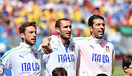 L-R<br /> Claudio Marchisio, Giorgio Chiellini and Gianluigi Buffon of Italy sing the national anthem during the 2014 FIFA World Cup match at Itaipava Arena Pernambuco, Recife metropolitan area<br /> Picture by Stefano Gnech/Focus Images Ltd +39 333 1641678<br /> 20/06/2014