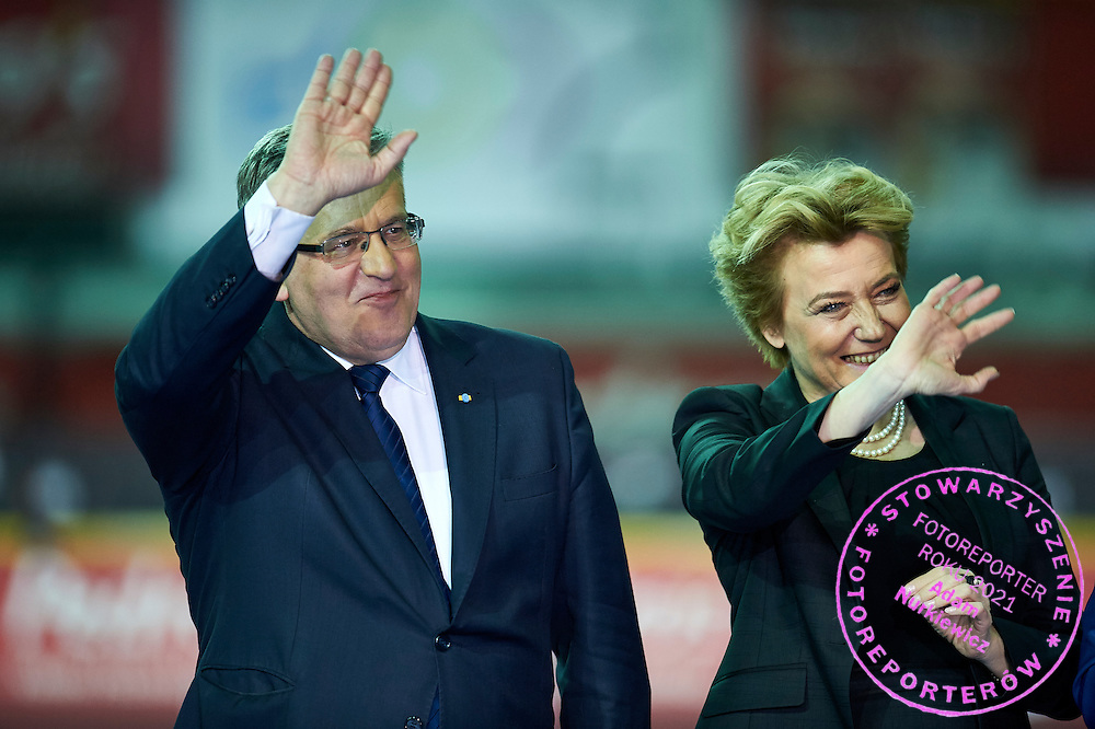 (L) Bronislaw Komorowski - President of Poland and (R) Hanna Zdanowska the mayor of City Lodz during athletics meeting Pedro's Cup at Atlas Arena in Lodz, Poland.<br /> <br /> Poland, Lodz, February 17, 2015<br /> <br /> Picture also available in RAW (NEF) or TIFF format on special request.<br /> <br /> For editorial use only. Any commercial or promotional use requires permission.<br /> <br /> Adam Nurkiewicz declares that he has no rights to the image of people at the photographs of his authorship.<br /> <br /> Mandatory credit:<br /> Photo by &copy; Adam Nurkiewicz / Mediasport