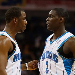 Mar 31, 2010; New Orleans, LA, USA; New Orleans Hornets guard Chris Paul (3) talks with guard Darren Collison (2) during the second half against the Washington Wizards at the New Orleans Arena. Mandatory Credit: Derick E. Hingle-US PRESSWIRE