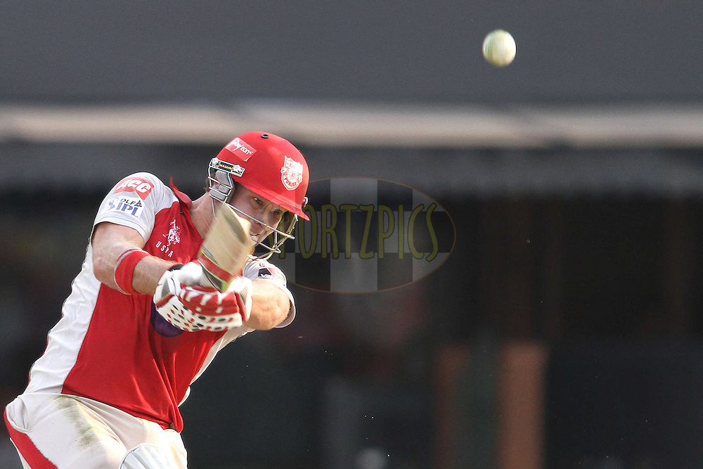 David Miller of the Kings XI Punjab hits a delivery for six during match 33 of the the Indian Premier League (IPL) 2012  between The Kings X1 Punjab and The Mumbai Indians held at the Punjab Cricket Association Stadium, Mohali on the 25th April 2012..Photo by Shaun Roy/IPL/SPORTZPICS