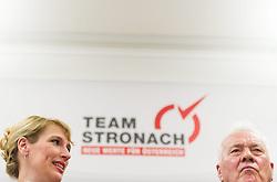 """06.02.2015, Parlamentsklub TS, Wien, AUT, Team Stronach, Pressekonferenz mit dem Thema: """"Neustart Team Stronach"""". im Bild v.l.n.r. bisherige Klubobfrau Team Stronach Kathrin Nachbaur und Parteigruender und Obmann Frank Stronach // f.l.t.r. Leader of the Parliamentary Group TS Kathrin Nachbaur and Party Founder Frank Stronach during press conference of Team Stronach at parliamentary club TS in Vienna, Austria on 2015/02/06. EXPA Pictures © 2015, PhotoCredit: EXPA/ Michael Gruber"""