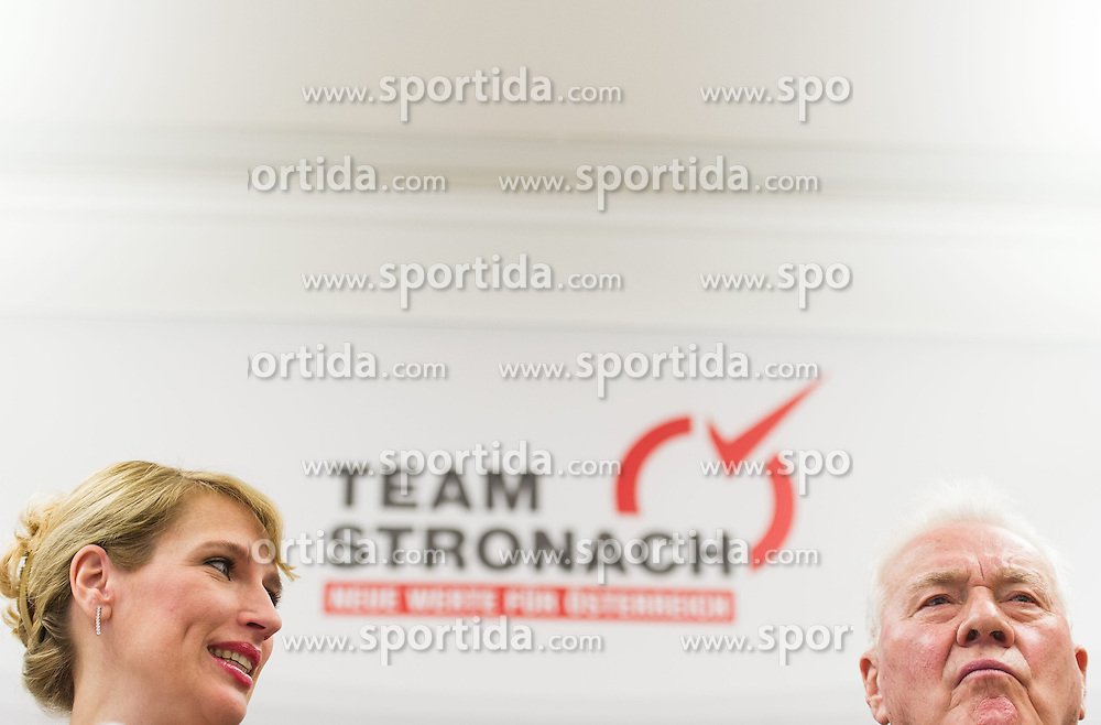 "06.02.2015, Parlamentsklub TS, Wien, AUT, Team Stronach, Pressekonferenz mit dem Thema: ""Neustart Team Stronach"". im Bild v.l.n.r. bisherige Klubobfrau Team Stronach Kathrin Nachbaur und Parteigruender und Obmann Frank Stronach // f.l.t.r. Leader of the Parliamentary Group TS Kathrin Nachbaur and Party Founder Frank Stronach during press conference of Team Stronach at parliamentary club TS in Vienna, Austria on 2015/02/06. EXPA Pictures © 2015, PhotoCredit: EXPA/ Michael Gruber"